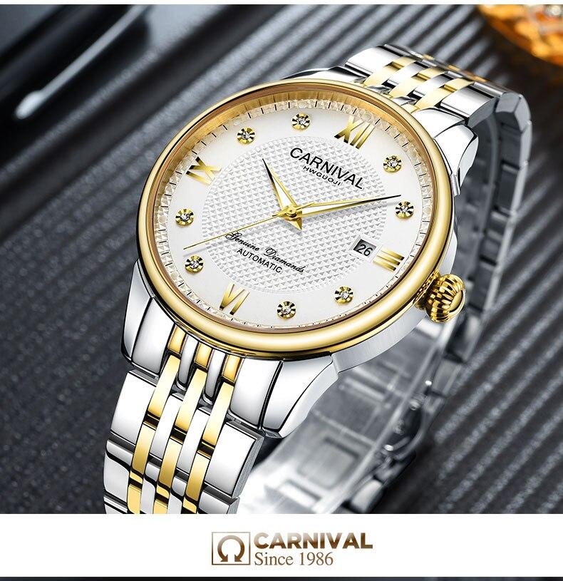 Carnaval masculino relógio automático breve com strass data luxo relógio mecânico simples relógio de negócios - 5