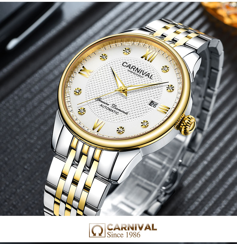 Carnival Men Automatic Watch Brief With Rhinestone Date Luxury Mechanical Watch Simple Business Watch - 5