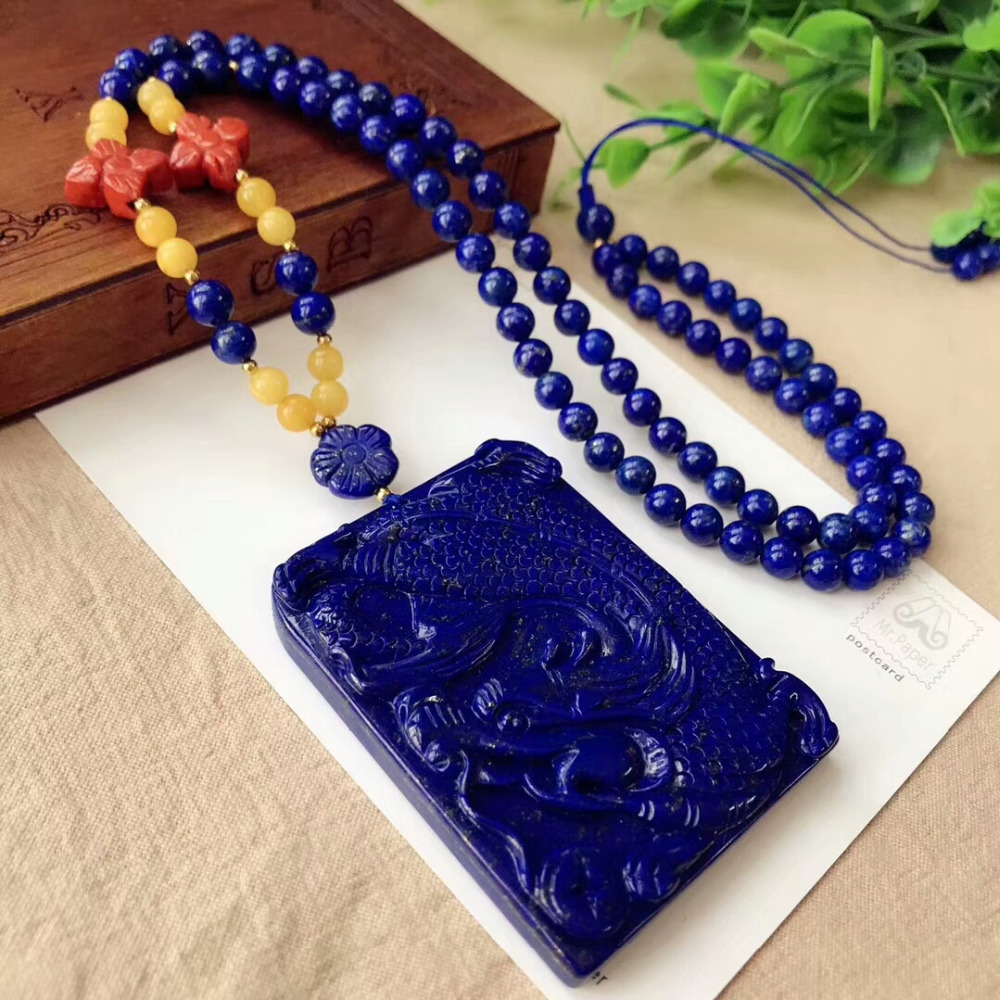 Genuine Natural Royal Blue Lapis Lazuli Dragon Craved Pendant 63x49x9mm Gemstone Woman Man Crystal Beads Necklace AAAAAA