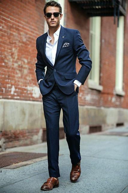 Trajes De Hombres De Vestir Smoking Men Suit Slim Fit Navy Wedding Tuxedos  Two Button Notches d1eebf0d367