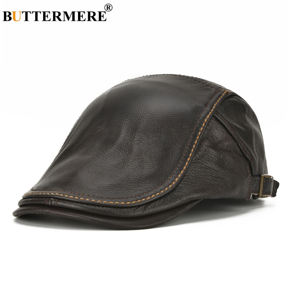BUTTERMERE Brand Hat Berets Men Real Leather Flat Caps Male Adjustable Coffee Duckbill Hat Autumn Winter Luxury Directors Caps