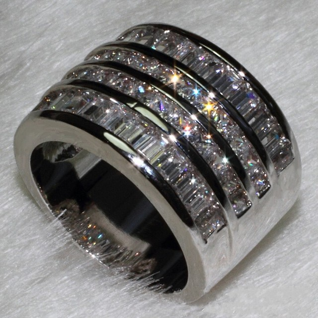 Victoria Wieck Princess cut 10ct topaz simulated diamond 10KT White Gold Filled Women Engagement Wedding Ring set Sz 5-11 Gift