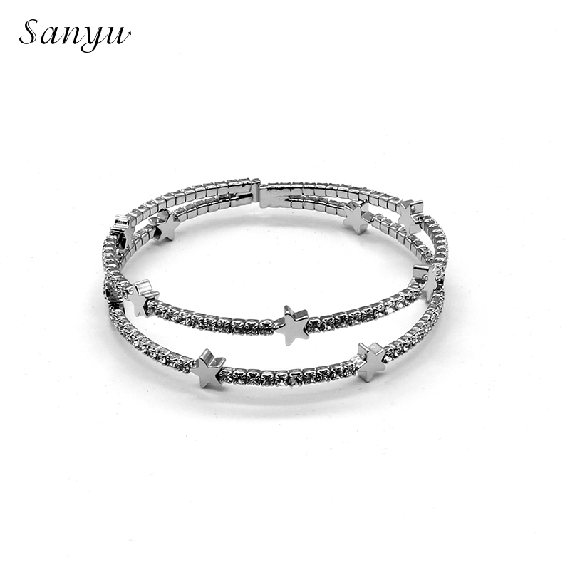 76288628d SANYU Fit Pandora Bracelet 2019 New Fashionable Not Silver Five pointed  Star Bangles Temperament Auden Drill White Steel BR 1611-in Bangles from  Jewelry ...