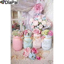 DIAPAI Diamond Painting 5D DIY 100% Full Square/Round Drill Flower bottle view Embroidery Cross Stitch 3D Decor A01394