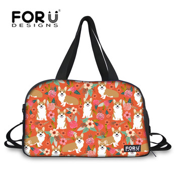FORUDESIGNS Outdoor Yoga Mat Bag for Women Cute Corgis Printing Large Sport Bags Female Fitness Shoulder Bags With Shoes Pocket