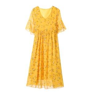 Image 5 - Robe longue de maternité en mousseline de soie, imprimé Floral, 8216 #, vêtements de grossesse élégants pour lété, 2019