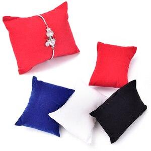 5pcs/lot Hot Jewelry Bracelet Bangle Pillow Display Holder Watch Holder Display Bracelet Pillow Cushion 4 Colors(China)