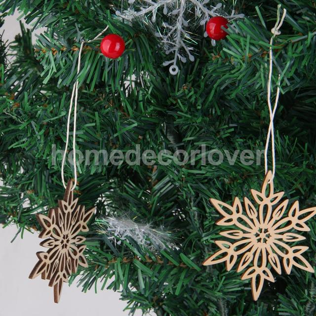 10x shabby wood twig snowflake nordic christmas tree decorations room hanger - Nordic Christmas Tree Decorations