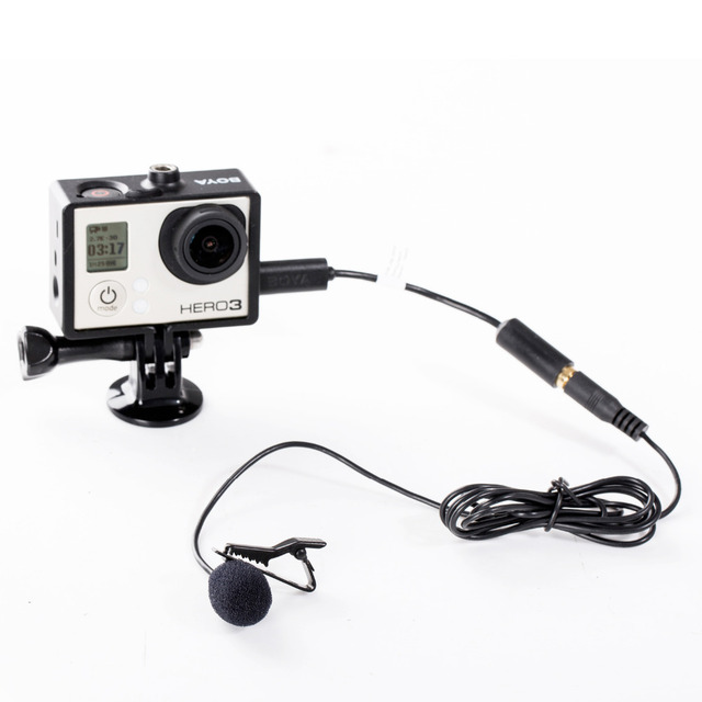 BOYA BY-LM20 Lavalier Clip-on Omnidirectional Condenser Microphone for GoPro HERO3 HERO3+ & HERO4 Black White & Silver Editions