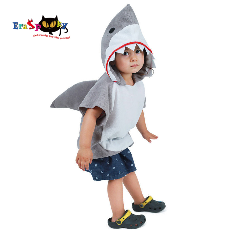 Eraspooky Cute Hooded Shark Cosplay Halloween Costume For Kids Children Animal Toddler Carnival Party Cartoon Fancy Dress Gifts