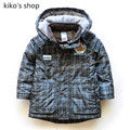 92-110cm height Boy warm spring and autumn jacket Baby fashion plaid jacket Children's hooded windbreaker