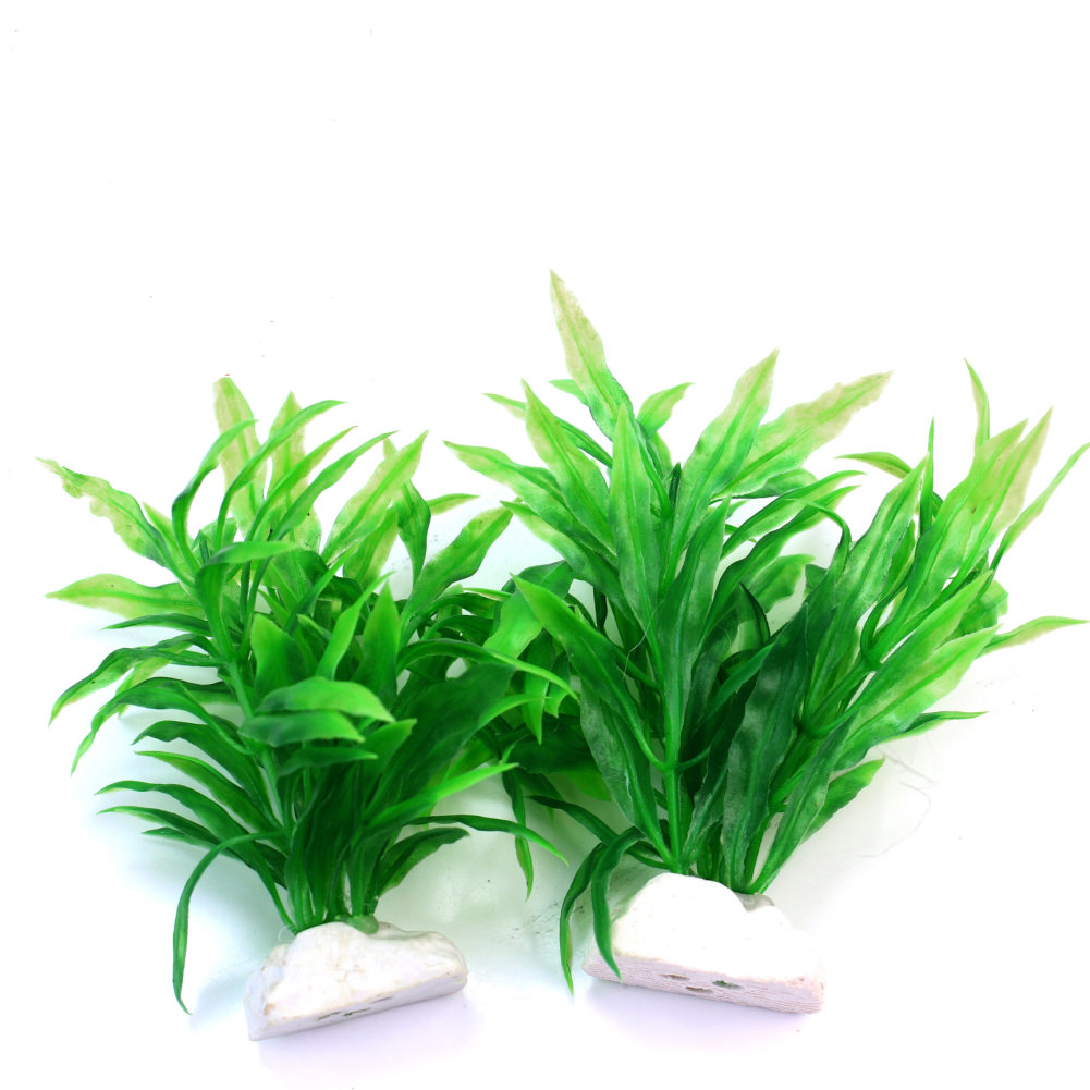 2pcs green artificial plastic water plant grass for fish for Artificial pond water