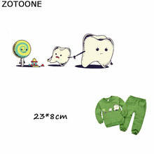 ZOTOONE Cartoon Tooth Candy Patches Heat Transfer Iron on Stickers A-level Washable Patches for Clothes DIY Appliqued for Kids clothing to iron on patches personality wolf patches a level washable heat transfer stickers 25 19cm appliqued
