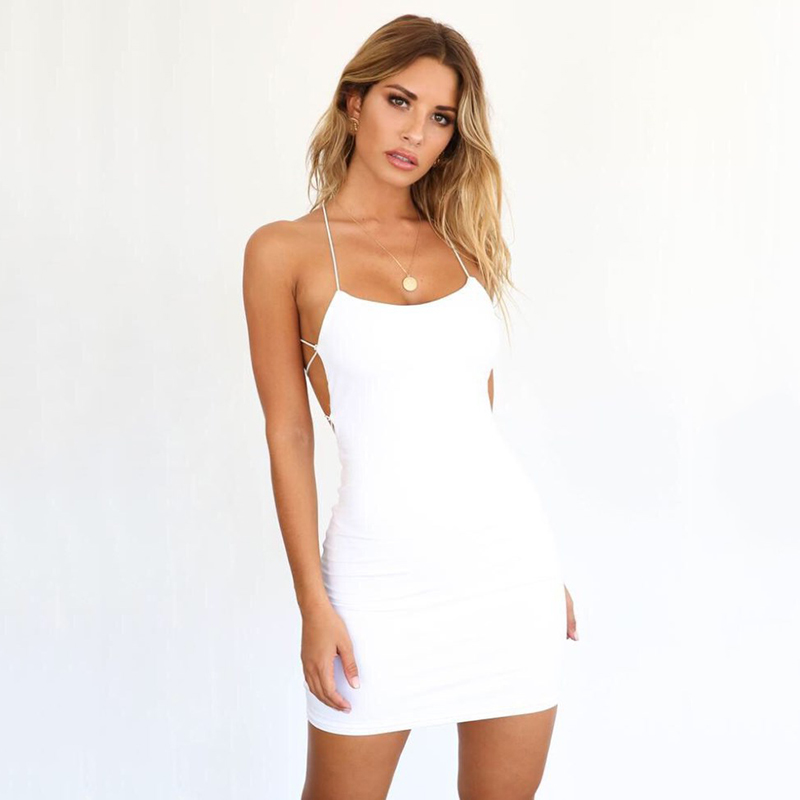 c70384af6e9 2019 Articat Cross Bandage Backless Sexy Bodycon Women Sleeveless O Neck  Summer Beach Dress Black Short Party Casual Mini Dress
