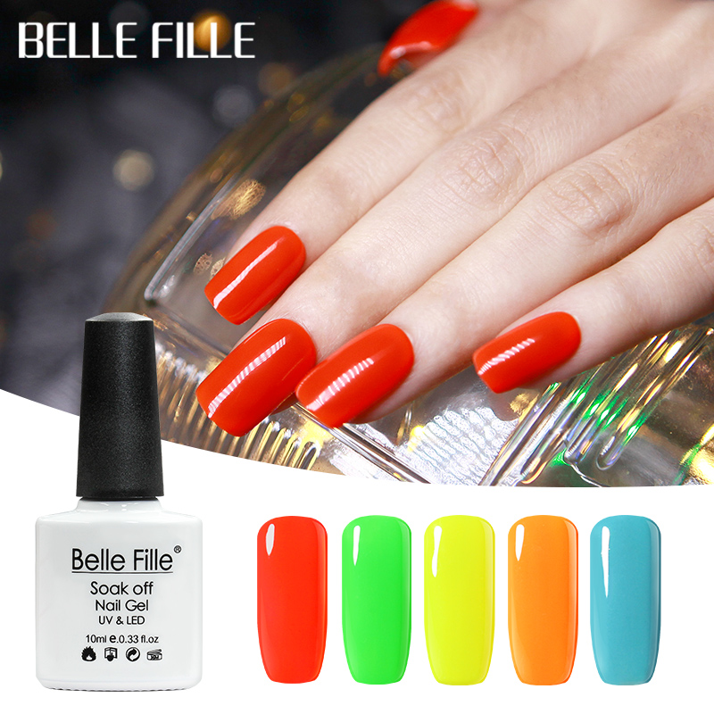 Belle Fille Soak Off Gel Nail Polish Lacquer Manicure Varnish Neon Nail Gel Polish Uv Gel Nail