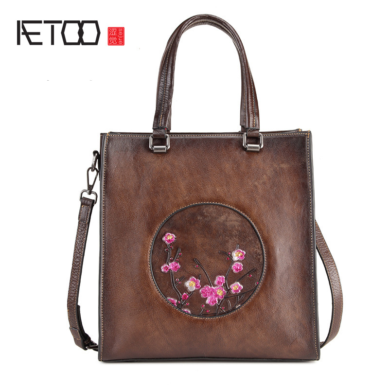 AETOO Leather simple fashion womens bag, portable commuter leather shopping bag single shoulder bagAETOO Leather simple fashion womens bag, portable commuter leather shopping bag single shoulder bag