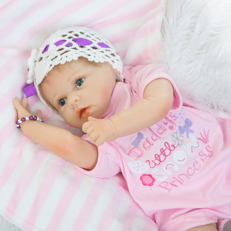 Soft Silicone Reborn Baby Dolls For Sale Cloth Stuff Body Doll Reborn 22 inch Model Dolls For Girl Kids Birthday Gift Brinquedos hot sale 2016 npk 22 inch reborn baby doll lovely soft silicone newborn girl dolls as birthday christmas gifts free pacifier