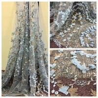 Последние Свадебная кружевная ткань с 3d цветок Высокое качество 3d кружевной ткани для свадьбы Цвет небесно-синий Африканский кружевной тка...