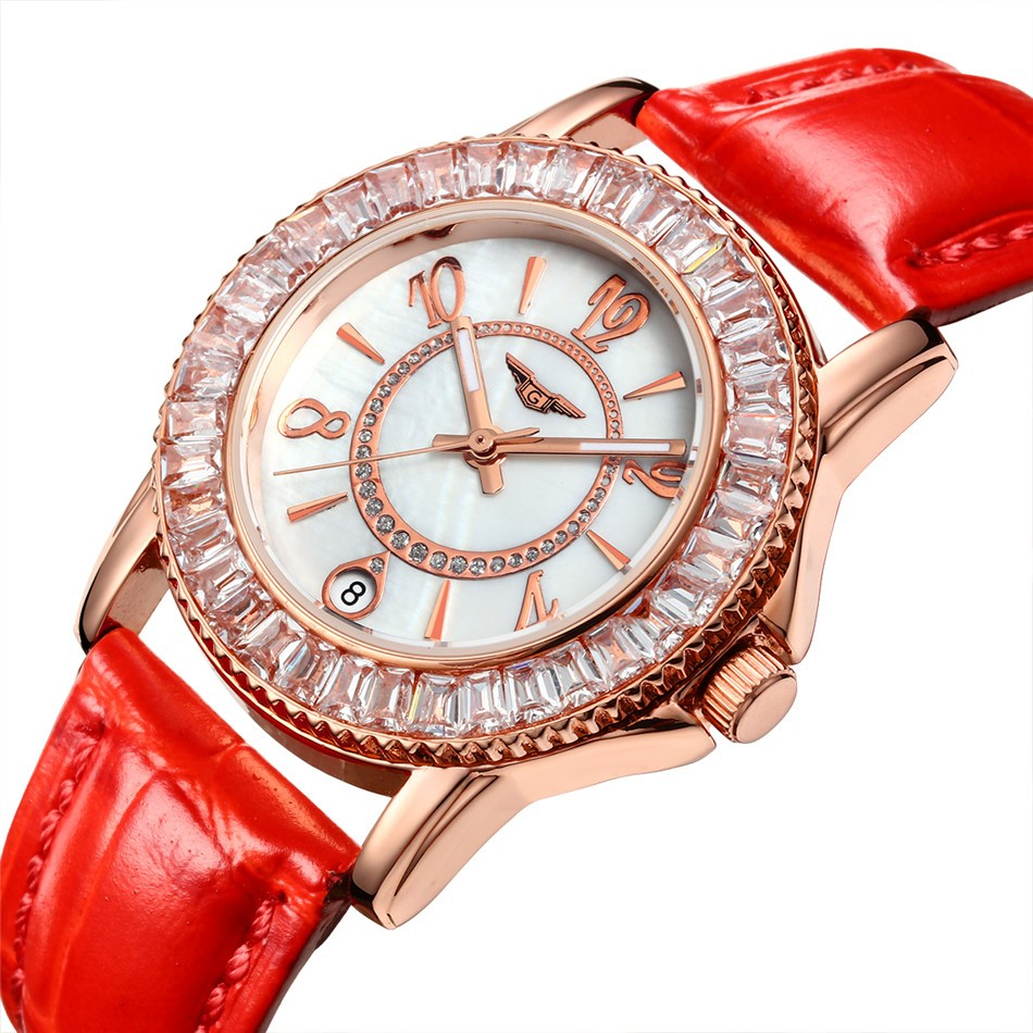 ФОТО Fashion Watches Women Brand GUANQIN Quartz Watch Luxury Ladies Diamond Gold Case Red Leather Strap Wristwatch Women montre femme