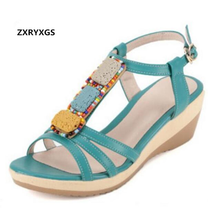 Hot Sales 2019 Summer New Beaded Cow Leather Shoes Casual Comfortable Women Sandals Fashion Shoes Large