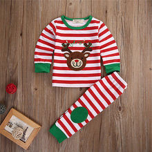 2 Pieces  Baby Christmas  Clothes Striped  Tops Pullovers Deer Pants Clothes Set 1-5 Y RED