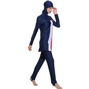 Image 5 - HAOFAN maillot de bain à rayures imprimé Hijab pour femmes, grande taille islamique, Surf, vêtements de Sport, burkina 5xl 6XL, maillot de bain musulman
