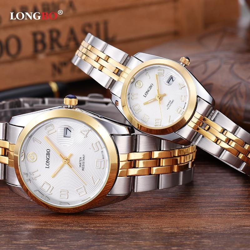 Longbo Top Brand Watch Men Full Stainless Steel Rhinestone Crystal Luxury Couple Quartz-watch Fashion Casual Montre Homme Clock