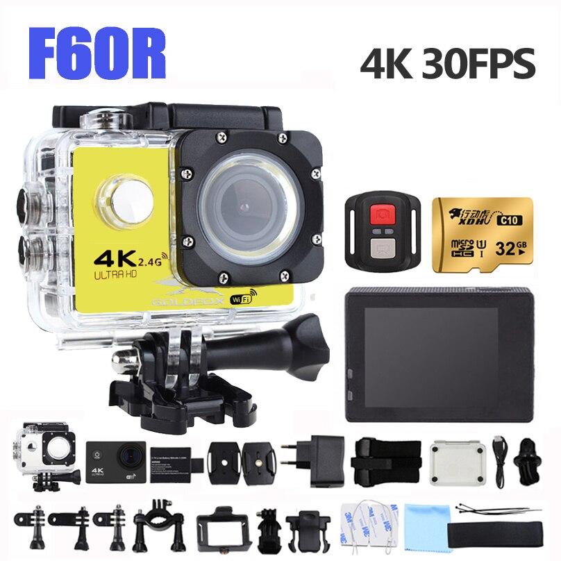 F60R Ultra HD 4K Action Camera bezprzewodowy pilot zdalnego sterowania kamery sportowej 16MP 170D szeroki anioł 30M iść wodoodporna pro sport DV kask Cam
