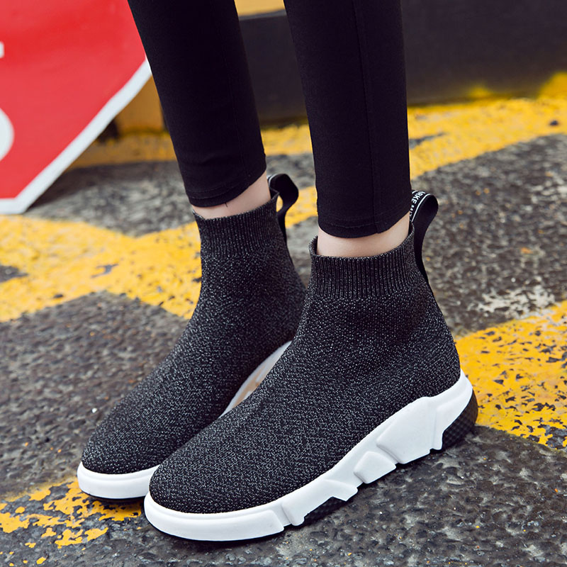 Discreet Bomkinta New Listing Slip On Women Shoes Flats Stretch High Top Sock Shoes Woman Loafers Tenis Ladies Sneakers Platform Shoes Soft And Light Women's Flats Women's Shoes