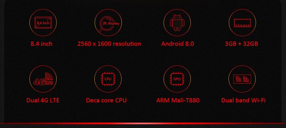 CHUWI Hi9 Pro Android 8,0 4G планшетный ПК MT6797 X20 Deca Core 3 ГБ ОЗУ 32 Гб ПЗУ 8,4 дюймов 2560*1600 gps телефонные звонки планшеты