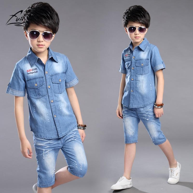 FYH Boys Clothes Summer Boys Clothing Set 2pcs Cowboy Shirt +Denim Shorts Kids Clothes Set Turn-down Collar Big Boys Casual Suit revere collar allover flamingo print blouse & shorts pajama set