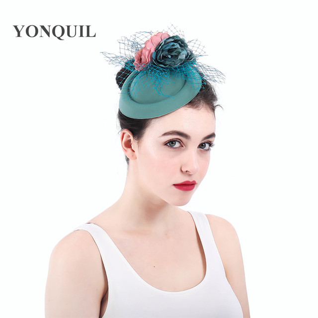 cb999a9976071 polyester medium green kentucky derby fascinator with veil Occasion church hat  bridal wedding headpieces