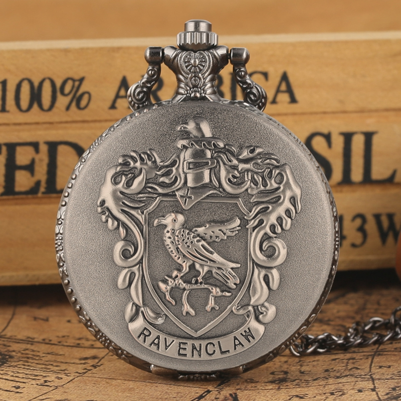 Retro Silver Grey Ravenclaw Hogwarts College Quartz Pocket Watch Analog Pendant Necklace Clock Gifts For Men Women