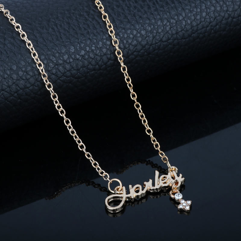 Fashion Suicide Squad Harley Quinn Jewelry accessories Name Necklace Link Chain Heart Letters Pendant Necklace Female Girls Gift