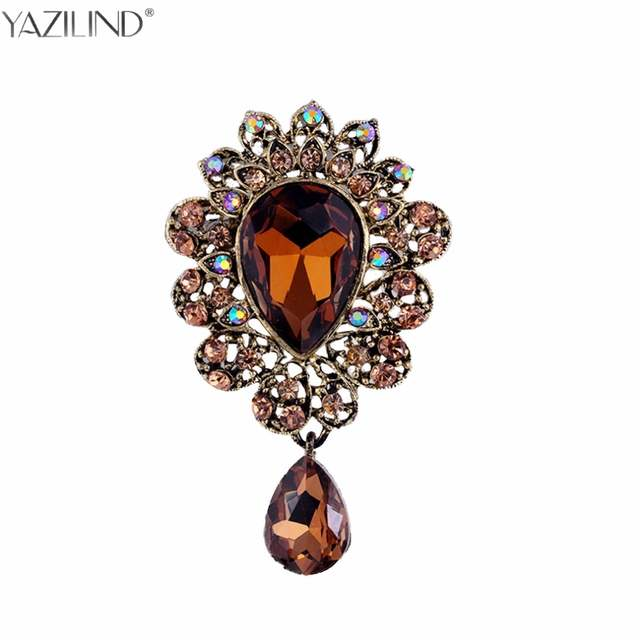 02386020f6 Turkish Flower Shaped Drop Dangle Brooch Corsage Acrylic Crystal Paved  Metal Alloy Anti Gold color Broche Vintage Collar Clips