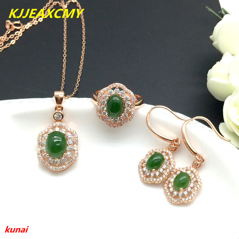 цены KJJEAXCMY boutique jewels 925 silver inlaid natural hetian jade pendant ring with 3 sets of necklaces.
