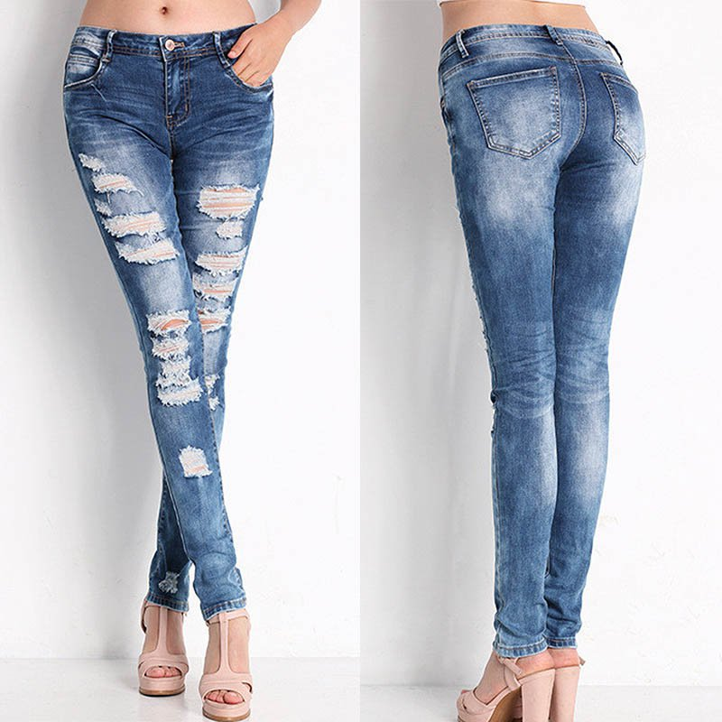 2017 Autumn Ladies Denim Pants Stretch Womens Bleach Ripped Female Skinny   Jeans   For Hot Sale