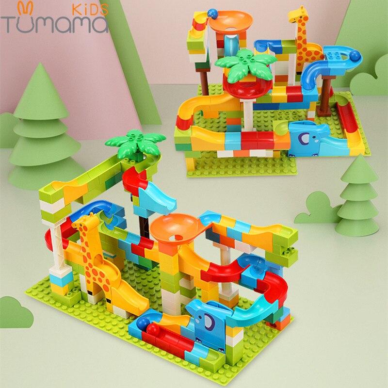 Tumama 52-143 piezas de mármol de carrera de aventura en la selva de bloques de construcción de gran tamaño de pelota laberinto ladrillos de construcción Compatible duploed