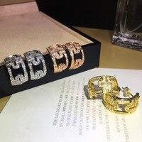 Monili d'acciaio di titanio multi-stile marchio di gioielli di alta qualità dell'orecchio del chiodo galvanotecnica oro rosa migliore regalo delle signore non è fad