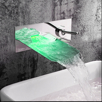 Real Bathtub Shower Faucets Torneira Para Banheiro Led Faucet Waterfall Wall Shower Mixer Bathroom Bath Tap
