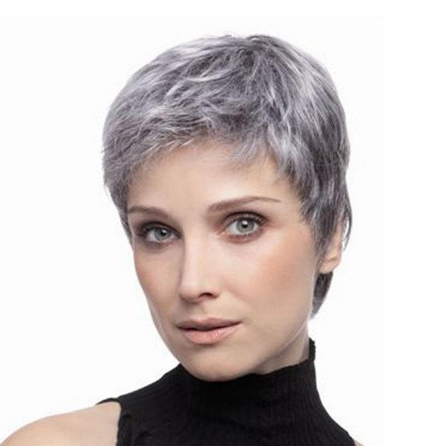 Grigio Donne Capelli Corti Parrucca Femminile Parrucca di Capelli Più Breve  Grigio Bianco c60e9b525a9a