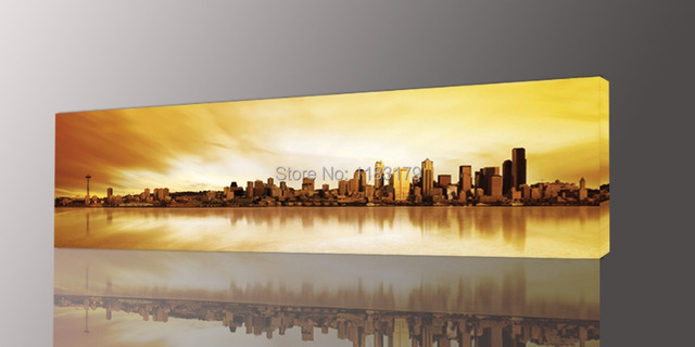Long Yellow City Painting Canvas Wall Art Picture Print for Living ...