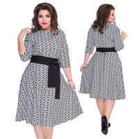 2019 Plus Size 6XL Autumn Winter Dress Women Print boho Dress office with  sashes Big Size Female Elegant Dress belt Vestido robe