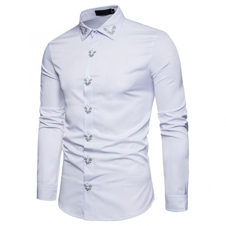 New Fashion Business Shirt Fashion Men Embroidery Floral Pattern Tee Shirt Turn-down Collar Long Sleeve Shirt Cotton Quality Comfortable Top Men's Clothing