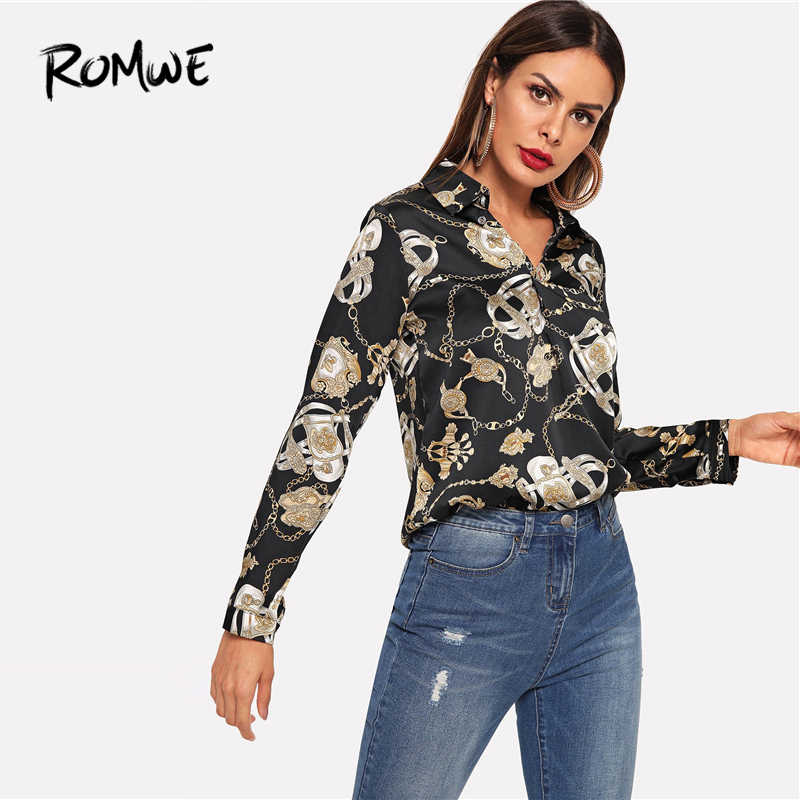 96ee86e1 Blusa con estampado de cadena ROMWE 2019 cuello en V camisas sexis para  mujer Casual Cool negro moda Primavera otoño camisa de manga larga para  mujer ...