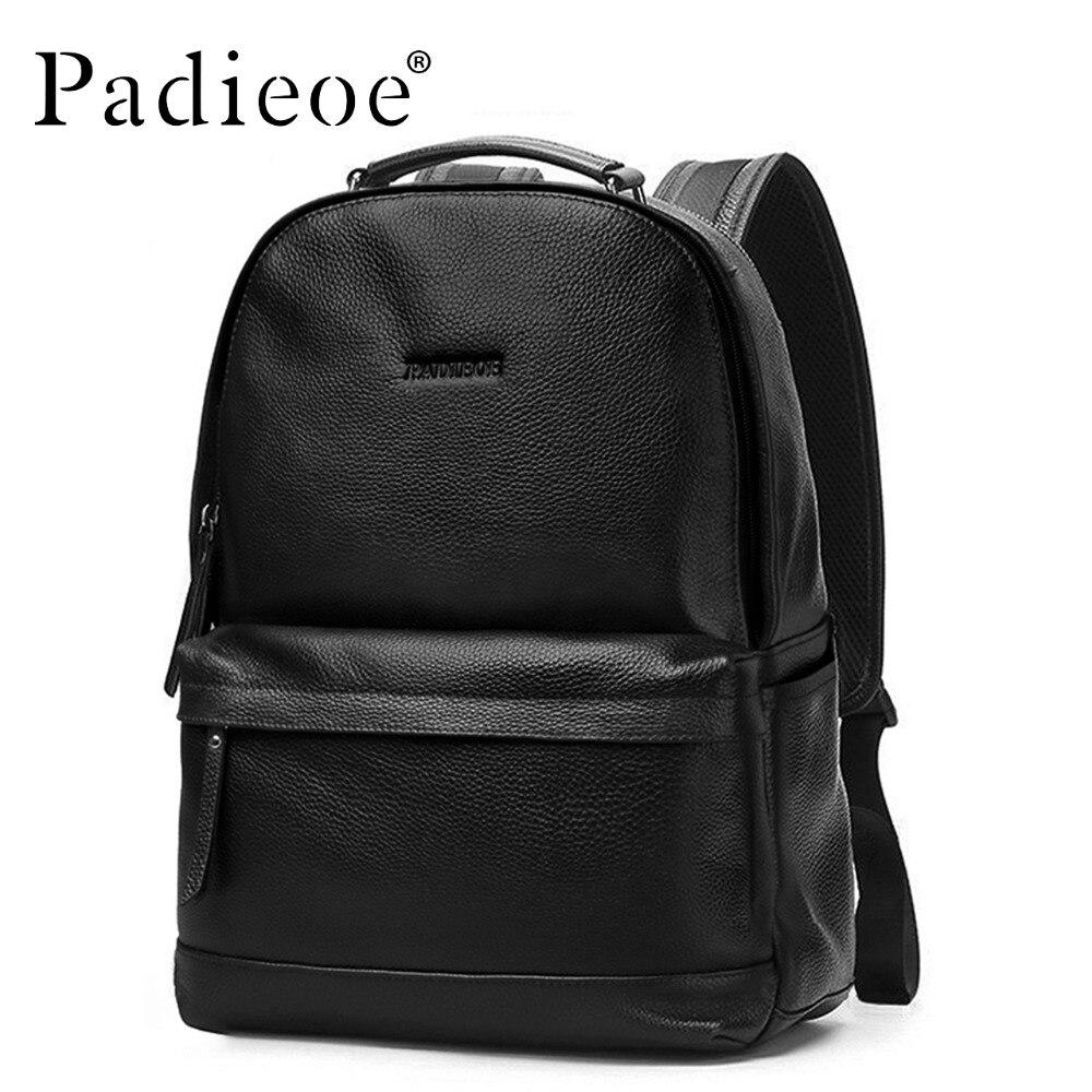 Padieoe роскошный мужской рюкзак из натуральной коровьей кожи, прочный кожаный большой рюкзак, модные однотонные черные мужские школьные рюкз... - 2