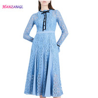 Princess Kate Middleton Dress 2019 Spring Dress Stand Collar Long Sleeve Lace Elegant Slim Butterfly Sleeve stitching Dresses
