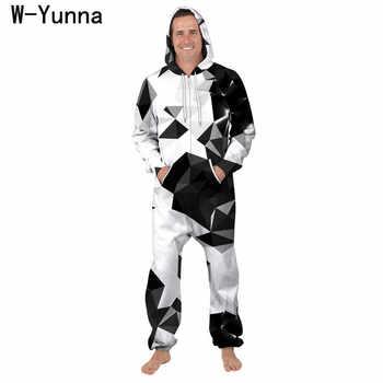 W-Yunna 2019 Harajuku White Black Color Block Loungewear Hooded Onesies One Pieces Unisex Adult Zipper Open Pocketed Pijama