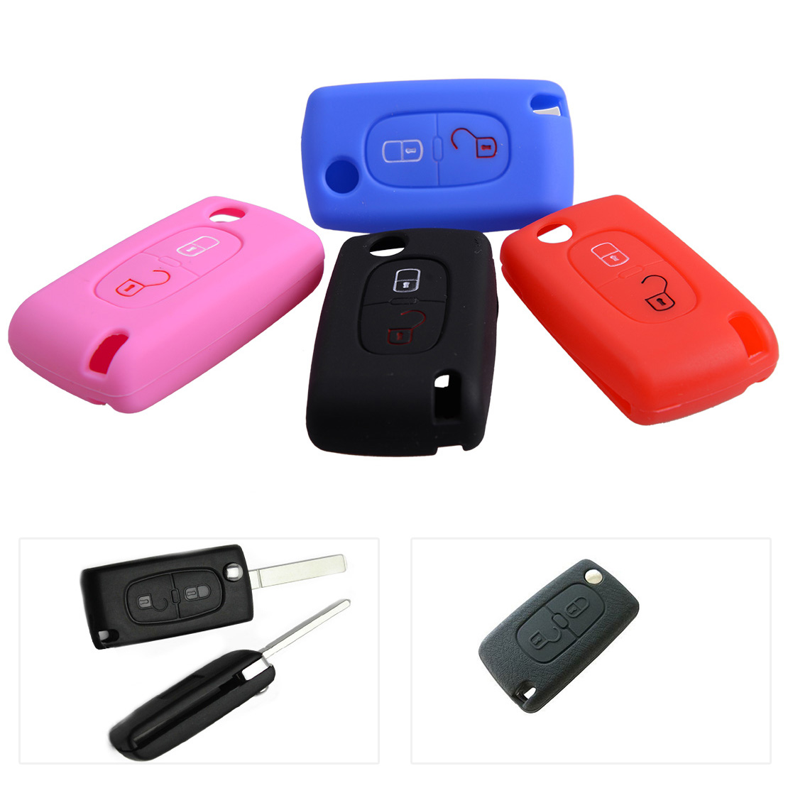 DWCX New Car Silicone Flip Key <font><b>Cover</b></font> Case Fob Shell 6.4 x 3.5 x 1.7cm Fit For Citrone C2 C3 C4 C5 C6 C8 <font><b>Peugeot</b></font> 307 <font><b>308</b></font> 407 image