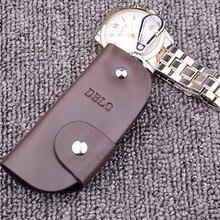 Натуральная кожа кожаный брелок для ключей, брелок для ключей для мужчин Организатор ключей экономки Для женщин брелок чехлы кейс на молнии сумка бумажник кошелек